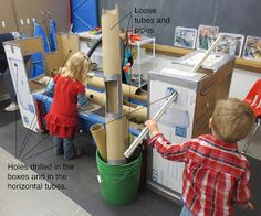Pipes, tubes, boxes and holes to go along with the sensory table.