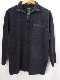 Lauren Ralph Lauren Mens Pullover Size Medium Dark Gray 1/2 Zipper Front #LaurenRalphLauren