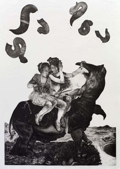 Diane Victor (South Africa), The Rhinoceros Who Looked at the Sky, Intaglio, 2013 Guanlan International Print Biennial Art Through The Ages, South African Artists, Linoprint, Look At The Sky, Abstract Oil, Artist Art, New Art, Printmaking, Art Projects