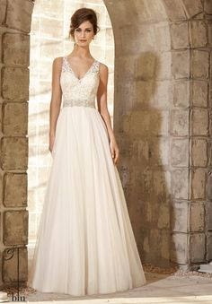 Wedding Gowns 5371 Majestic Embroidered Bodice with Crystal Beaded Waistline Trim on Soft Net Gown