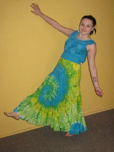 SOLITAIRE Skirt Boho Peasant Gypsy Tie Dye Cotton Gauze Uno Core Top Sz M #CL11 #Solitaire #Maxi