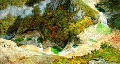 (North Korea) Eight Ponds in Mt Geumgang by Kim Geon-il (1941-   ). 김건일.