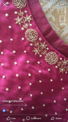 End Customization with Hand Embroidery & beautiful Zardosi Art by Expert & Experienced Artist That reflect in Blouse , Lehenga & Sarees Designer creativity that will sunshine You & your Party. Zardozi Embroidery, Embroidery On Kurtis, Kurti Embroidery Design, Hand Embroidery Dress, Embroidery Neck Designs, Simple Embroidery, Embroidery Suits, Beaded Embroidery, Indian Embroidery