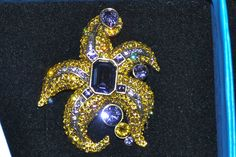 NIB $170 HEIDI DAUS  Sea Star  Tanzanite Gold Swarovski Crystal Brooch Pin