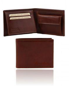 TL140763 Exclusive leather 3 fold wallet for men with coin pocket - Esclusivo portafoglio uomo in pelle 3 ante con portaspiccioli