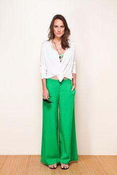 Green+Wide leg pants=Love, love, love!!!!