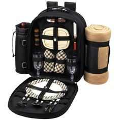 NEW Black Picnic Backpack Cooler with Blanket For Two