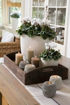 Looking for positioning ideas for a window sill or a table-scape. We love the co… Looking for positioning ideas for a window sill or a table-scape. We love the combination of plants and candles. Farmhouse Table, Farmhouse Decor, Country Decor, Deco Floral, Curtain Designs, Decorating Coffee Tables, Deco Table, Home And Deco, Home And Living