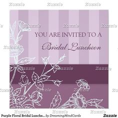 Purple Floral Bridal Luncheon Invitation Cards