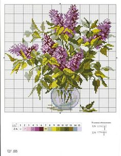 Lilac in vase cross stitch pattern and color chart. Tiny Cross Stitch, Cross Stitch Flowers, Counted Cross Stitch Patterns, Cross Stitch Charts, Cross Stitch Designs, Cross Stitch Embroidery, Crochet Cross, Cross Stitching, Crossstitch