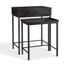 not sure that this would be the right one but it might be fun to have nesting tables on my side of the bed... Woodrow Metal Nesting Bedside Table #potterybarn