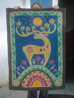 Csodaszarvas. Wet Felting, Needle Felting, Stag Design, Wool Felt, Folk Art, Textiles, Tapestry, Sewing, Wallpaper