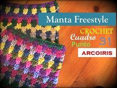 Manta a CROCHET FreeStyle cuadro 31: punto ARCOIRIS (zurdo) - YouTube