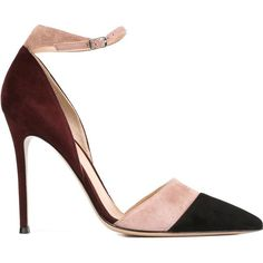 GIANVITO ROSSI Colour Block Pumps ($689) ❤ liked on Polyvore featuring shoes, pumps, ankle strap stilettos, pointed-toe pumps, stiletto pumps, high heels stilettos en leather pointed toe pumps