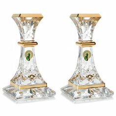 """Waterford® Crystal Lismore Essence Gold Plated 6"""" Candlestick Pair"""