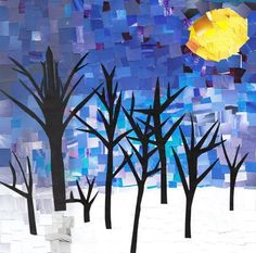 Painted paper Collage/Mosaic. Maybe with a more complex landscape to teach fore/middle/background.