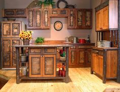 Rustic Kitchen Cabinets   Rustic Cabinets With Hand Forged Hinges And  Natural Wood Counters Of ...   Log Cabin Ideas For Our House!!!