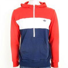 Adidas Originals hombre 's Jumbo Trefoil Pullover Hoodie Rojo / Blanco XL