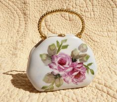 Hand Painted  Pink Roses on a Porcelain Purse Box by Chinapainter1, $21.00