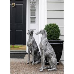 Gray Stone Magnesia Dog Looking Left 3R Studio Decorative Objects Decorative