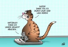 """Uli Stein Cartoon/""""Sure I can read our weight."""" """"Great! Divide by 2 and let's hear it!"""" -- Super :-) :-)"""