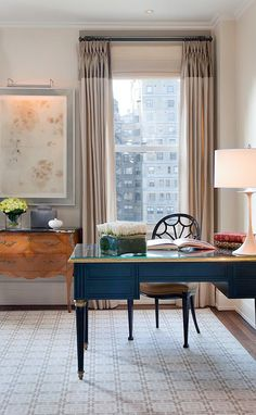 traditional home office furnishings in a modern setting; colour block drapery
