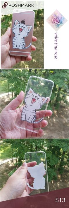 Kitten iPhone 6/6s phone case Brand new in package this is a clear iPhone slip cover which covers the back only, it is like a silicone bendable plastic. Adorable screen printed design- my iPhone is the rose gold color so whatever color your iPhone is is the color that will show through. Accessories Phone Cases