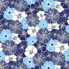 Citron Twist Collection - Blue Packed Poppies by Maria Kalinowski for Kanvas Studios at Benartex Fabrics - Listed by the Half Yard by RealStitchersofTexas on Etsy