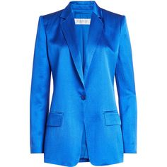 Max Mara Silk Blazer (18 150 ZAR) ❤ liked on Polyvore featuring outerwear, jackets, blazers, blue, tailored jacket, blue jackets, silk jacket, maxmara and slim fit blue blazer
