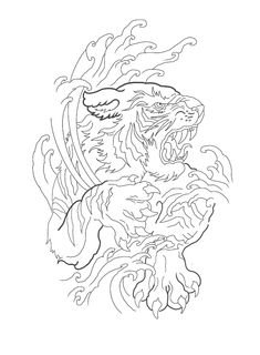 Tiger Stencil, Animal Drawings, Japanese Tattoo Designs, Lion Tattoo, Eagle Drawing, Tattoo Stencils, Cat Tattoo, Tiger Tattoo Design, Tattoo Designs