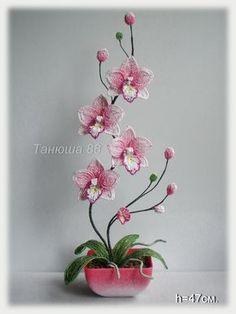 орха розовая   biser.info - всё о бисере и бисерном творчестве. Orchid beaded flower