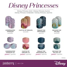 Give yourself an amazing manicure at home with the Disney Collection by Jamberry nail wraps! Gorgeous princess designs and more! Disney Princess Nails, Princess Pocahontas, Disney Princess Cinderella, Disney Nails, Disney Princesses, Merida Disney, Aurora Disney, Disney Pixar, Jamberry Disney