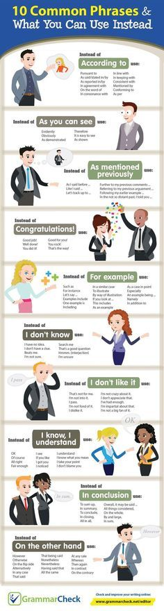 10 Common Phrases & What You Can Use Instead (Infographic) -. - Wortschatz Common Phrases & What You Can Use Instead (Infographic) - English Tips, English Class, English Lessons, Gcse English, Education English, 10th Grade English, English Help, Better English, English English