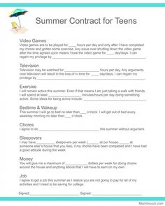 Summer Contract forTeens  I think we need a little more flexibility as some weeks will vary on friends available or amount of tv, depending on what else has gone on that week. #ParentingTeens