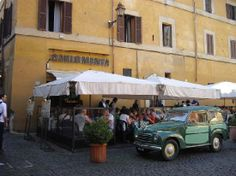 Carlo Menta is a traditional Trastevere neighborhood restaurant that has awesome pizza and it starts at only 3euros!
