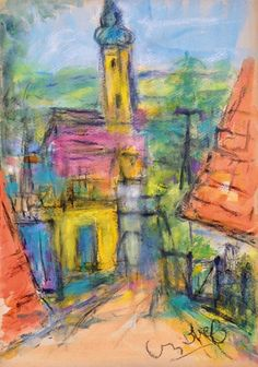 View Street in Szentendre By Béla Czóbel; Aquarelle, pastel on cardboard; 40 x 29 cm; Access more artwork lots and estimated & realized auction prices on MutualArt. Fauvism, Chapelle, Global Art, Art Market, Art For Sale, Art Nouveau, Auction, Scene, Watercolor