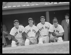 Jimmy Piersall, Ted Lepcio, Lou Boudreau, and Dick Brodowski.: 1952