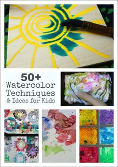 Watercolor Art Projects for Kids-(familiar techniques, but pinning anyway.) :D