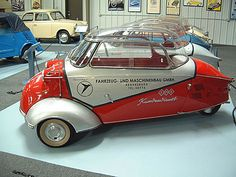 1961 Messerschmitt Service Car. Was produced in very small numbers, perhaps a dozen units total. It had special suspension parts in the front, to mount a Messerschmitt Tow Bar. The Tow Bar was connected with a clamp on the bumper of the towing car in front. The clamp fits to several old style metal bumpers. Note: when towing the Messerschmitt this way, it has the Status of a Trailer and needs special removable holders for reflecting triangles at the rear license plate.