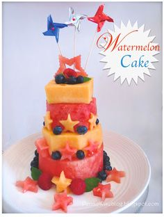 """all fruit watermelon """"cake for Fourth of July"""