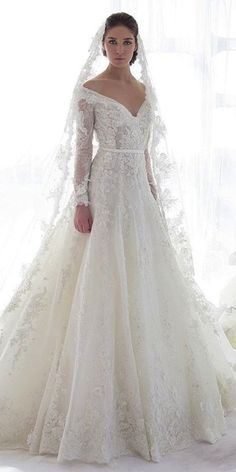 24 Of The Most Gorgeous Lace Wedding Dresses With Sleeves ❤️ lace wedding dresses deep v neckline a line gown ziad nakad Full gallery: https://weddingdressesguide.com/lace-wedding-dresses-with-sleeves/