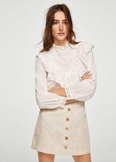 Button linen skirt | MANGO