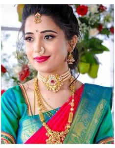 Marathi Bride, Marathi Wedding, Saree Wedding, Marathi Nath, Wedding Bride, Nose Ring Jewelry, Nath Nose Ring, Bridal Nose Ring, Gold Nose Rings