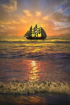 Sun Set With Beautiful Ship   See More Pictures