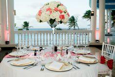 Like a Fairy Tale! Reception with gorgeous views. Blue Lagoon - Destination Wedding in Jamaica  #CaribebanWedding #GrandPalladiumJamaica  : True Colors Photography