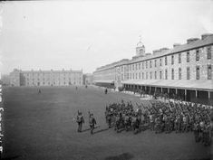 Great Grandfather resident here as a soldier in British Army age Barracks life: Troops with rifles slung over backs are put through their paces in Richmond Barracks Old Pictures, Old Photos, Photo Engraving, Dublin City, National Archives, Law And Order, Dublin Ireland, Troops, Soldiers