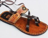 Two Colors Handmade & Handpainted Lace Up Sandals Inca Style 2015  Collections Few Available - Chasqui