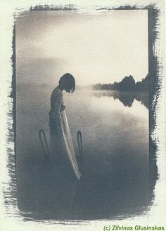 Handmade cyanotype using original photoemulsion on watercolor acid free paper