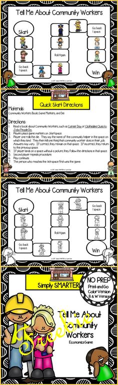 Are you looking for a NO PREP social studies game for preschool, kindergarten, or first grade? Then enjoy this economics resource which is comprised of a color version and black and white version of a COMMUNITY WORKERS themed game that can be used for small group work, partner collaboration, or homework!  Children will identify community helpers and tell one thing the person does in their job while playing this board game.