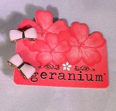 Geranium Light Pink Enamel Gold Bow Earrings Studs Boutique Jewelry | eBay